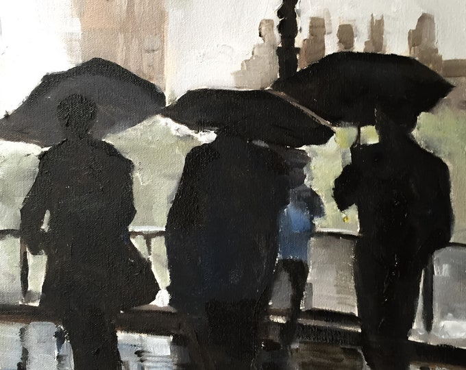 London raining Painting Wall art - Canvas Print - Fine Art - from original oil painting by James Coates
