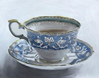 Tea Painting Tea Cup Art Tea PRINT Tea Cup Gift for tea lovers, tea drink art - Art Print - Kitchen Art Alice in wonderland art tea party