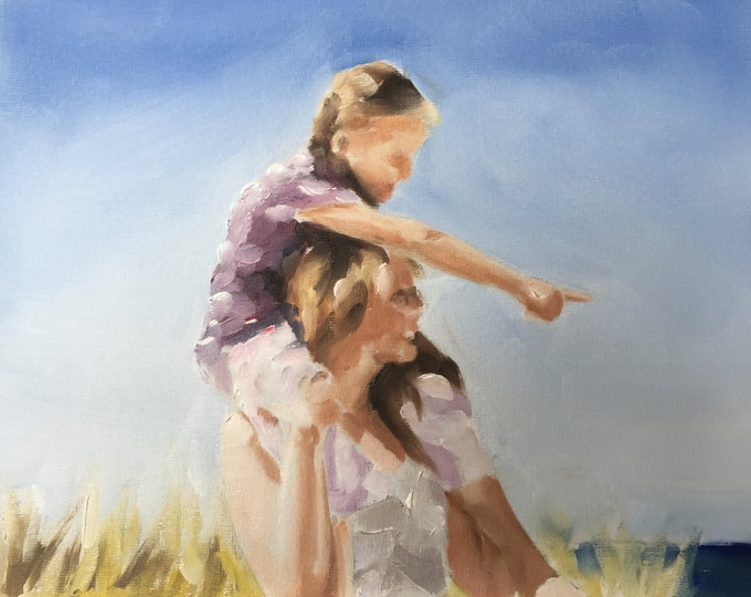 Prints from original oil painting by James Coates Fine Art Me and Grandpa Painting Poster commissions Wall art