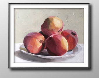 Peaches - Painting - Poster - Wall art - Canvas Print - Fine Art - from original oil painting by James Coates
