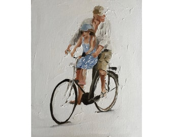 Father painting daughter painting father Art PRINT Father and Daughter Cycling - Art Print  - from original painting by J Coates