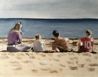 Beach Family Painting Beach Art Beach PRINT - Art Print from original painting by J Coates