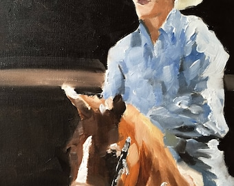 Horse Riding Painting Horse Art Horse Rider Art PRINT Horse Riding - Art Print  - from original painting by J Coates