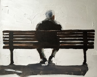Man on bench - Painting - Poster - Wall art - Canvas Print - Fine Art - from original oil painting by James Coates