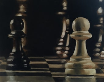 Chess Painting Chess Lovers Gift Art PRINT Chess  - Art Print  - from original painting by J Coates