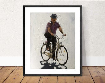 Cycling - Painting - Poster - Wall art - Canvas Print - Fine Art - from original oil painting by James Coates