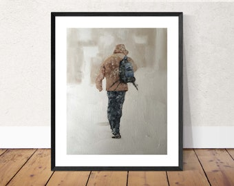 Snow Walk Painting Snow Art Snow PRINT Walking in the Snow - Art Print - from original painting by J Coates