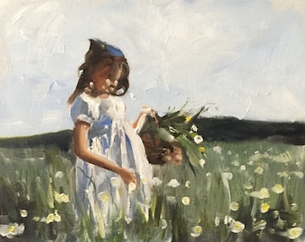 Girl Painting Country art PRINT Girl Picking Flowers - Art Print  - from original painting by J Coates