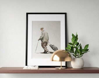 Old Main Painting Old Man Art Old Man PRINT Old Man Walking With Trolley - Art Print - from original painting by J Coates