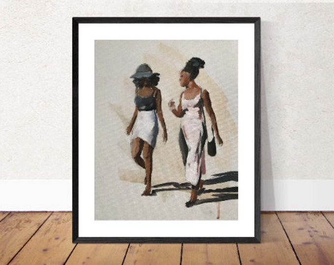Friends Painting , women Wall art, Beach Canvas Print, Fine Art - from original oil painting by James Coates