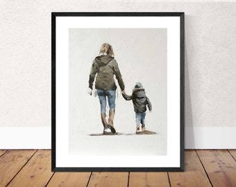 Mother Painting Mother Art Mum PRINT Mother and Child Walking - Art Print - from original painting by J Coates