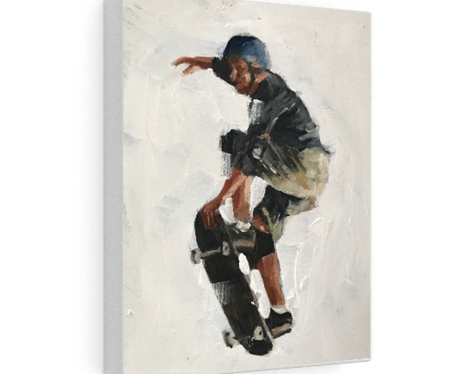 Skateboarder Painting, Wall art, skateboarding Canvas Print, Fine Art - from original oil painting by James Coates