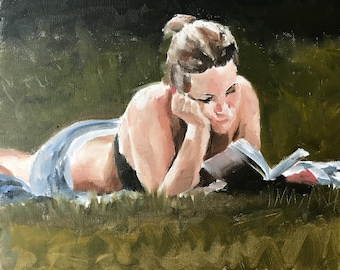 Woman Reading Painting Reading Picture Art PRINT Woman Reading - Art Print - from original painting by J Coates