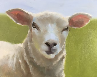 Sheep Painting Sheep Picture art for nursery PRINT Lamb Sheep - rustic art - animal prints, farmhouse art, kids room art, farm animals