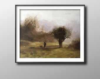 Man in field - Painting - Poster - Wall art - Canvas Print - Fine Art - from original oil painting by James Coates