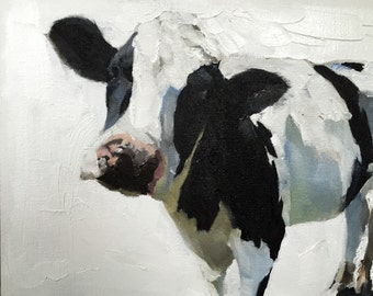 Cow Painting, Cow Art, Cow PRINT - Cow Oil Painting, Holstein Cow, rustic art, farm animal art, farmhouse wall art, nursery art, cow gift