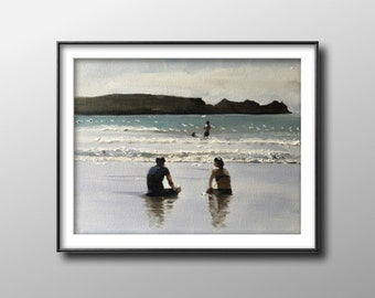 Couple on beach - Painting -Wall art - Canvas Print - Fine Art - from original oil painting by James Coates