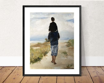 Father and son painting father son art father PRINT Shoulder Ride - Father and Son - Art Print  - from original painting by J Coates