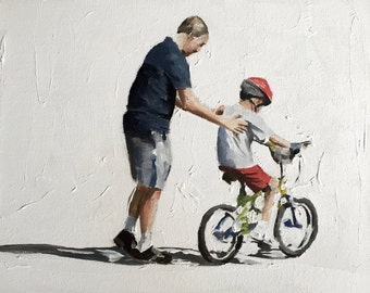 Father art Father Painting Father PRINT Father Gift - Father Helping Child to Ride Bicycle - Art Print  - from original painting by J Coates