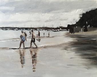 Beach painting Beach Art Beach PRINT Beach Scene - Art Print - from original painting by J Coates