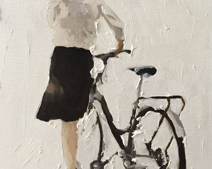 Women with bike -Bicycle Painting - Cycling art - Cycling Poster - Cycling Print - Fine Art - from original oil painting by James Coates