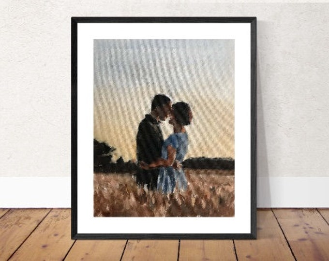 Couple in field  Painting, PRINTS, Canvas, Poster, Commissions, Fine Art - from original oil painting by James Coates