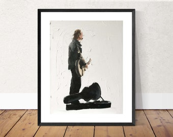 Busker Painting Guitar Player Art PRINT music painting - Art Print - from original painting by J Coates