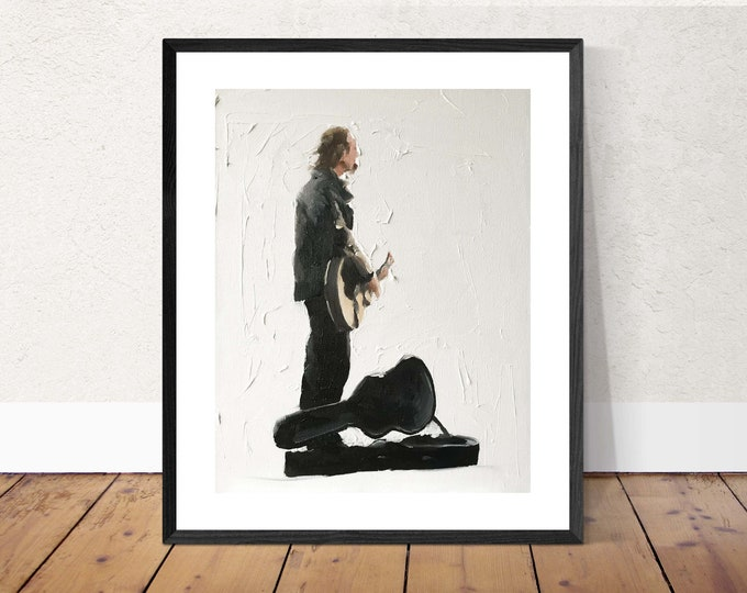 Guitar player - Painting -Wall art - Canvas Print - Fine Art - from original oil painting by James Coates