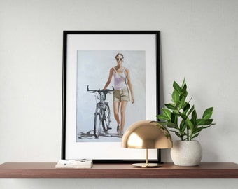 Woman bicycle Painting Woman bicycle art PRINT Woman with Bicycle - Art Print - from original painting by J Coates
