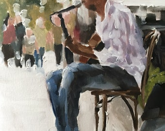 Busker Painting Saxophone Player Art PRINT music painting - Art Print - from original painting by J Coates