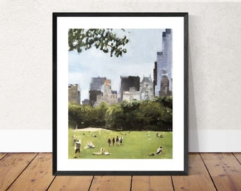 Central Park Painting Central Park New York Art PRINT Central Park New York - Art Print  - from original painting by J Coates