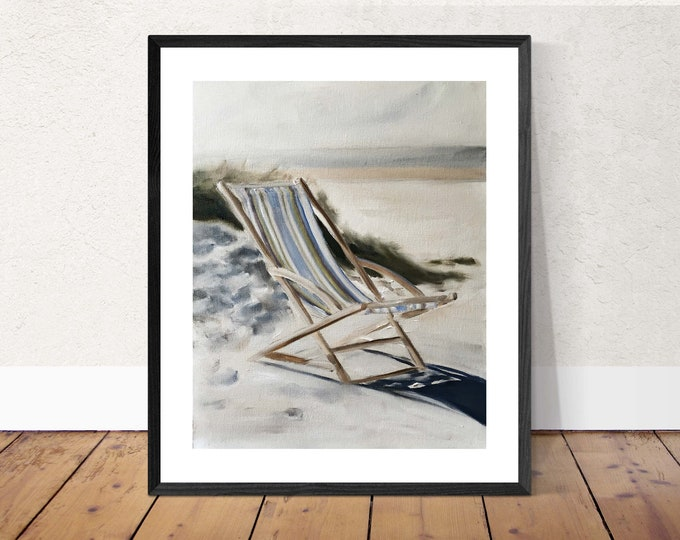 Beach Art Beach Painting Beach PRINT Deck Chair on Beach - Art Print - from original painting by J Coates