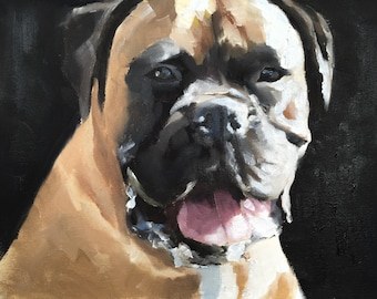 Boxer dog - Painting - Poster - Wall art - Canvas Print - Fine Art - from original oil painting by James Coates
