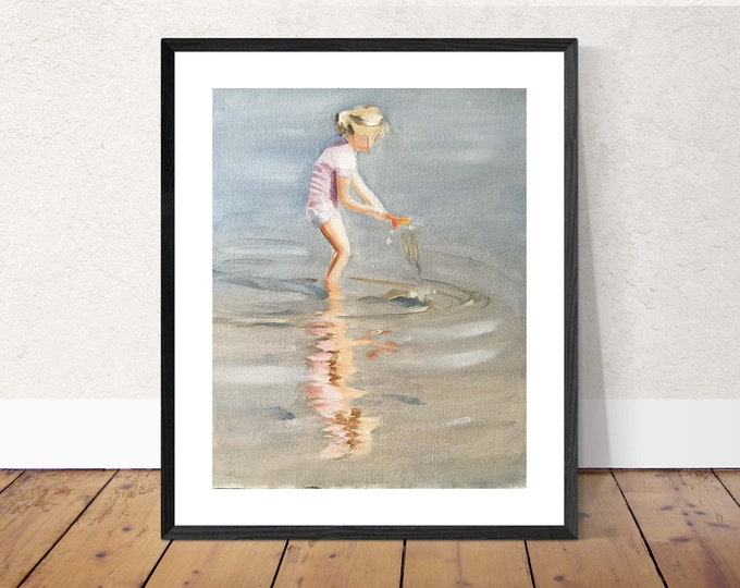 Beach girl - Painting Beach art - Beach Prints - Fine Art - from original oil painting by James Coates
