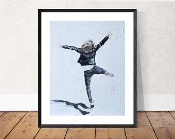 Woman Painting Woman Art PRINT mother art mother gift Woman Jumping - Art Print - from original painting by J Coates