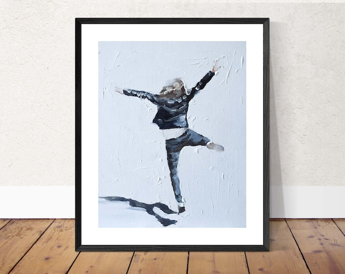 Woman jumping - Painting -Wall art - Canvas Print - Fine Art - from original oil painting by James Coates