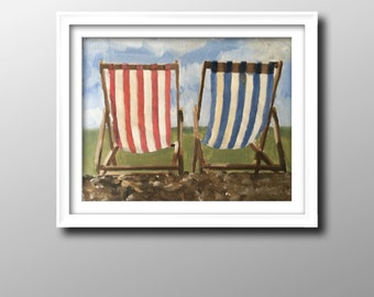 Deck chairs - Painting -Wall art - Canvas Print - Fine Art - from original oil painting by James Coates