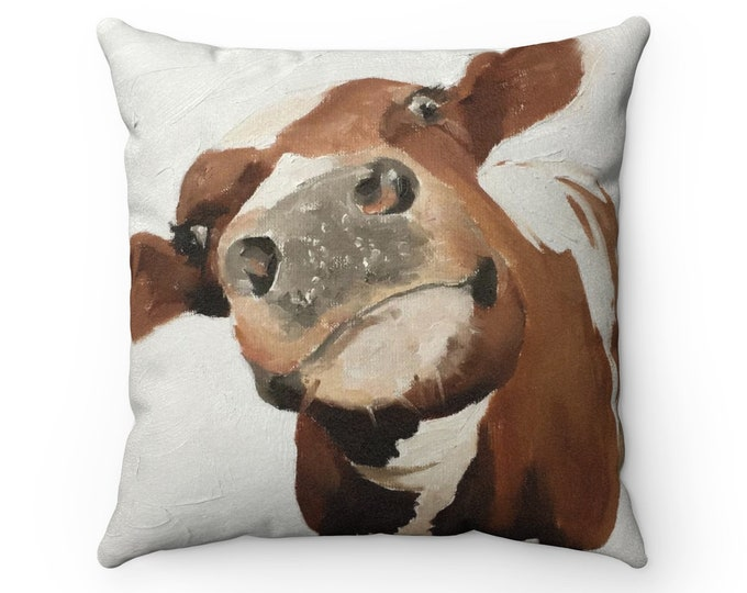Cow Cushion Cow Pillow Faux Suede Cow Gift Cow Illustration Handmade Pillow Farm Cushion