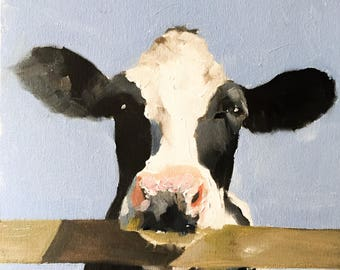 Cow Painting, Cow Art, Cow PRINT - Cow Oil Painting, Holstein Cow, Farm Animal Art, Farmhouse Art, Prints of Farm Animals, Farm Wall Art