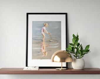 Beach Girl Painting Beach Art Beach PRINT Girl on Beach - Art Print - from original painting by J Coates