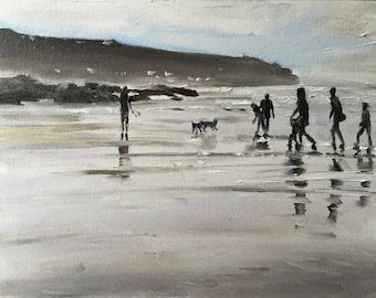 Beach Painting Beach Art Beach PRINT Beach Scene Cornwall Art Print - from original painting by J Coates