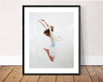 Girl Painting Woman Art PRINT mother gift - Girl Leaping in Air - Art Print - from original painting by J Coates