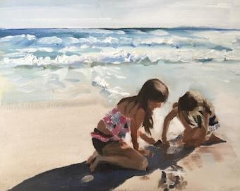 Children on Beach Painting Beach Art PRINT Girls on Beach Art Beach Fun - Art Print  - from original painting by J Coates