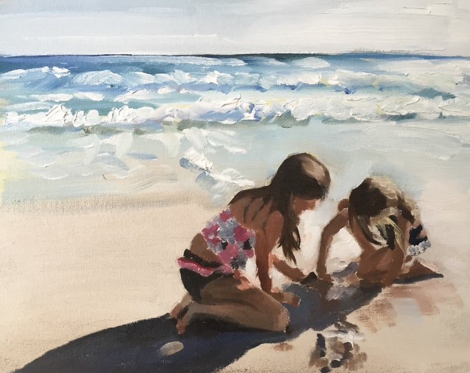 Children on beach  Painting - Poster - Wall art - Canvas Print - Fine Art - from original oil painting by James Coates