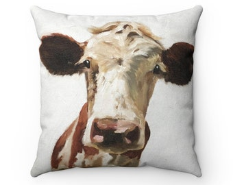 Cow Cushion Cow Pillow Faux Suede Cow Gift Cow Illustration Handmade Pillow Farm Cushion