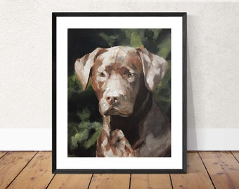Chocolate Labrador- Painting  - Poster -Wall art - Canvas Print - Fine Art - from original oil painting by James Coates