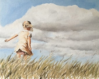 Girl Painting Girl Art Girl PRINT Girl in Field - Art Print - from original painting by J Coates