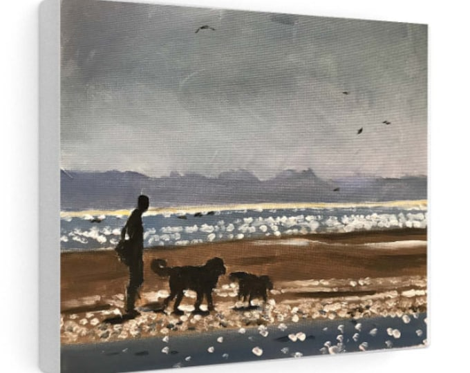 Dogs on beach Painting, PRINTS, Canvas, Posters, Commissions, Fine Art - from original oil painting by James Coates