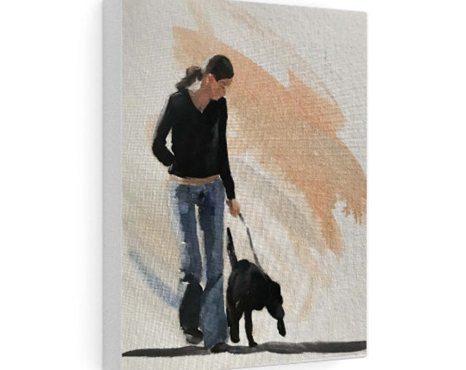 Woman and dog Painting, Prints, Originals, Commissions, Fine Art - from original oil painting by James Coates
