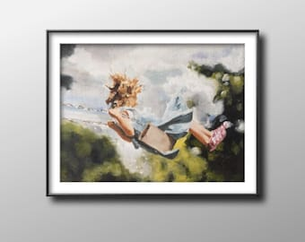 Girl on swing - Painting - Poster - Wall art - Canvas Print - Fine Art - from original oil painting by James Coates